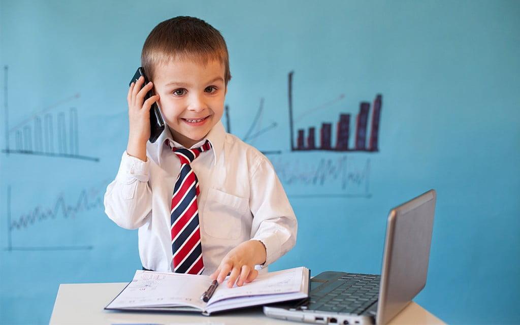 Child Investor On Phone